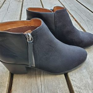 Shoes - J. Adams black leather and suede ankle booties